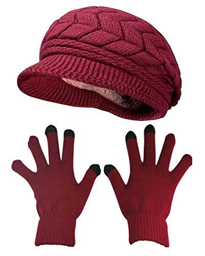 6e6527624 HINDAWI Winter Hat Gloves for Women Knit Warm Snow Ski Outdoor Caps Touch  Screen Mittens Burgundy ** Check out this great product.