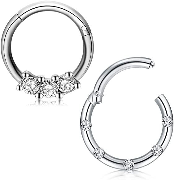 Amazon Com D Bella 16g Stainless Steel Nose Rings Hoop Cz Clicker Seamless Segment Septum Rings Piercing Septum Piercing Ring Nose Rings Hoop Piercing Jewelry