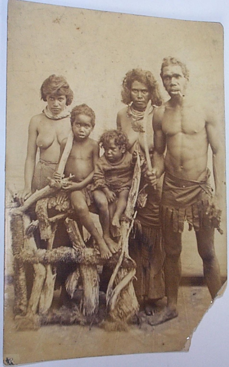 Photograph of a staged Aboriginal family group taken in Lismore Australia