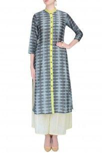 Grey Shibori Kilim Print Kurta With Palazzo Pants #grey #print #shibori #kurta #palazzo #swativijaivargie #clothing #shopnow #happyshopping