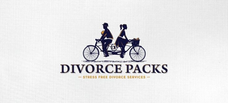 31 law firm logos that raise the bar. Divorce packs logo design by MarkoBo showing two silhouettes on an opposite facing tandem bike #branding #legal #lawyers
