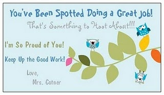 Vista print cards or bulletin board with good deeds/behavior written on leaves