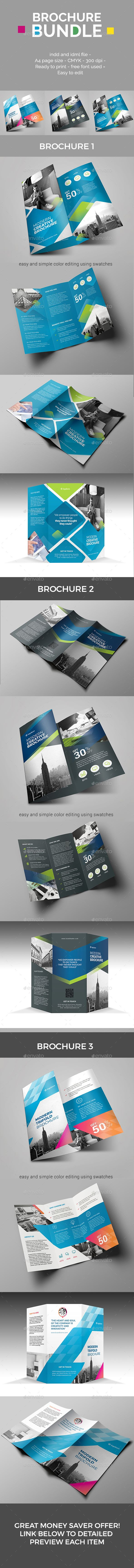 #Trifold Brochure #Bundle - #Corporate #Brochures. Package of 3 different styled trifold brochures.Each item in modern, creative, fully editable and easy to customize Template. great money saver offer!