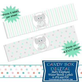 Ready-To-Print Gender Neutral Mint Baby Elephant Water Bottle Labels for Baby Shower and DIY party decor. Time to celebrate - and these darling baby elephant water bottle labels will help you.