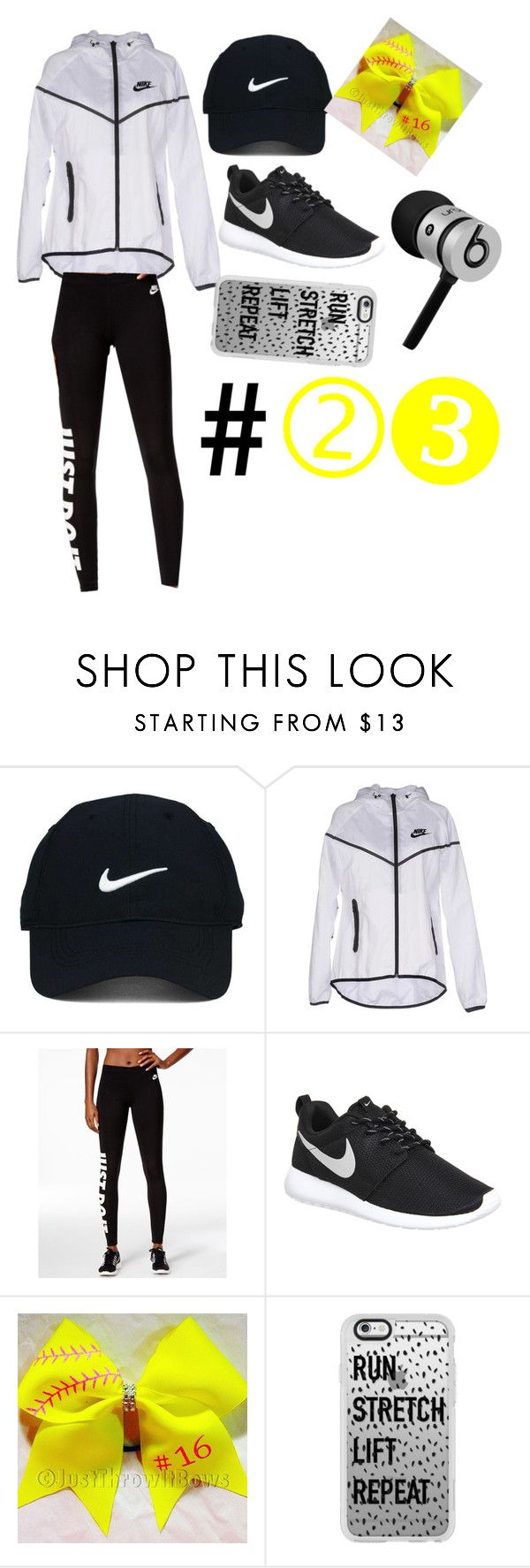 Softball/track season by lay-lay23 ❤ liked on Polyvore featuring Nike Golf, NIKE, Casetify and Beats by Dr. Dre