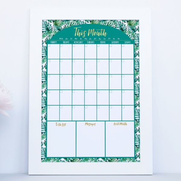 Reusable Calendar in tropical fern design. Write on the glass with liquid chalk. Works for any month, any year. Easy to clean &a looks great www.atpcreativedesign.com