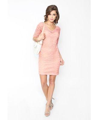 Vestido Cklass rosa. Superficie de encaje, hilos dorados,  cierre trasero, cuello en