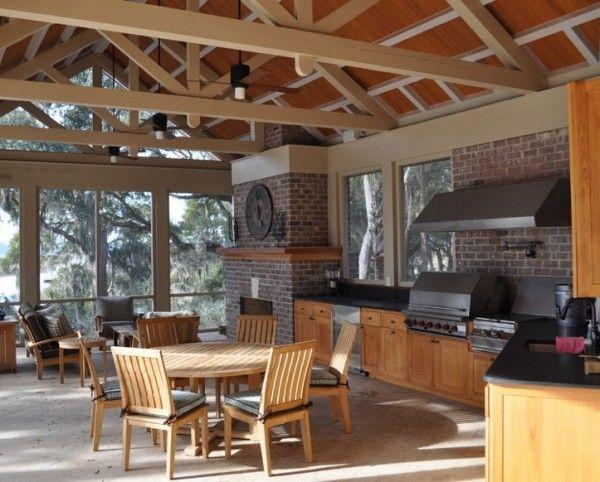 Outdoor summer kitchen design with wooden furniture