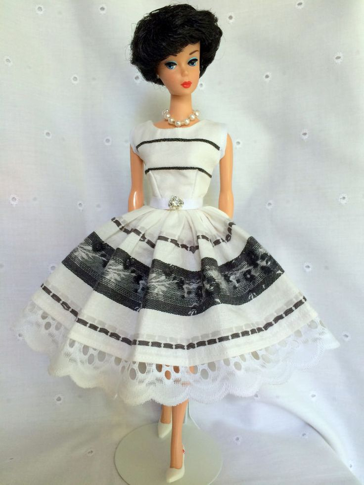 Handmade OOAK Dress For Vintage & Vintage Repro Barbie By*~GINA~*BLK/WHITE*