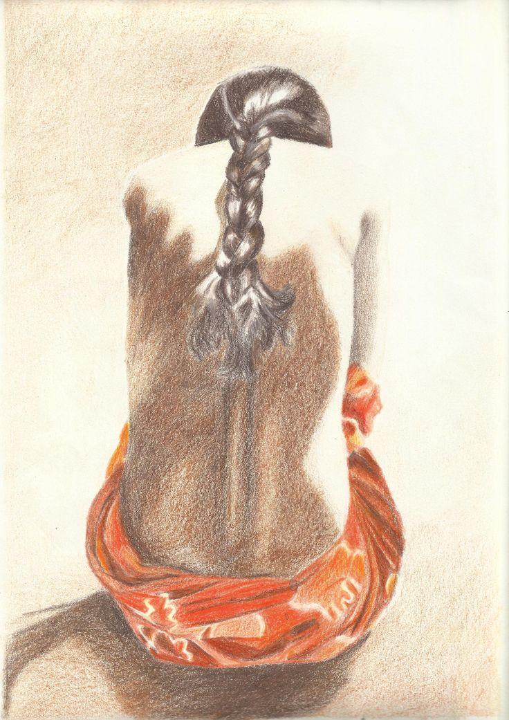 La chica de la trenza. 2008. -Técnica: lápiz de color Created by: Noelia Laguna
