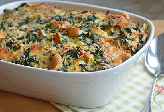 brunch strata — really a savory bread pudding with spinach, cheese ...