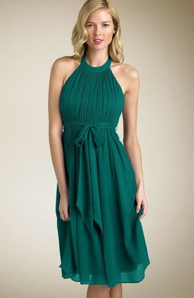 Laundry by Shelli Segal Tie Front Chiffon Halter Dress available at #Nordstrom