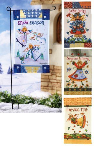 """Seasonal Country Angel Garden Flags Fall/Winter By Collections Etc by Collections. $14.99. Fall Winter Flags include a metal stake with a pair of polyester flags featuring the artwork of Debra Jordan Bryan. Imported. Stake 17""""W x 39""""H. Banner approx. 12 1/2""""W x 21""""L. Spring Summer flags are a set of two flags only."""