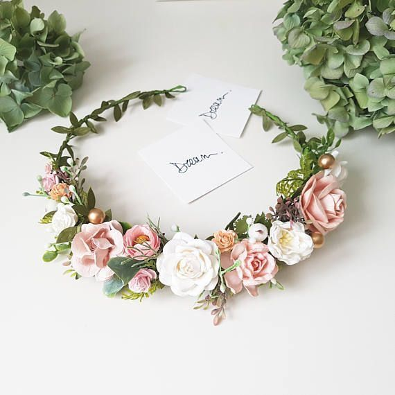 Pink Bridal Flower Crown Ivory and blush Flower girl crown bridesmaid flower crown Wedding flower crown Rose flower headband Boho crown halo
