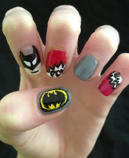 Batman Nail Art in 35 Creative Nail Art DesignsNails Inspiration, Batman Nails Design, Art Designs, Hair Nails, Nails Polish, Creative Nails, Nails Art Design Superhero, Fingers Nails, Geeky Stuff