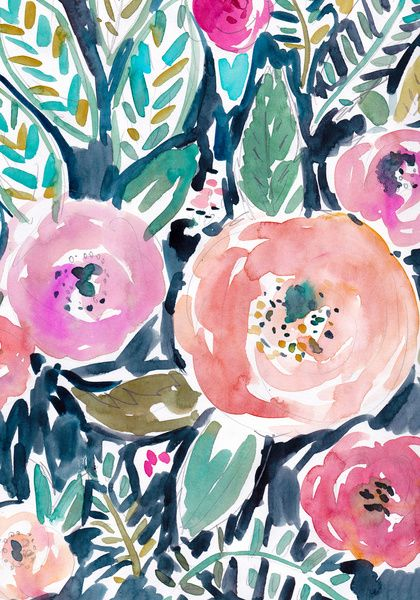 watercolor floral pattern   navy, pink, fuschia, teal, green