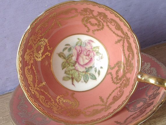 Antique Aynsley hand painted pink rose tea cup and saucer, Coral Peach Orange tea cup set, English teacup, Bone china tea cup, Birthday gift