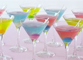 Blow Pop Martini Cocktails. Frozen lemonade concentrate, water, Bubblegum flavored Vodka, sour