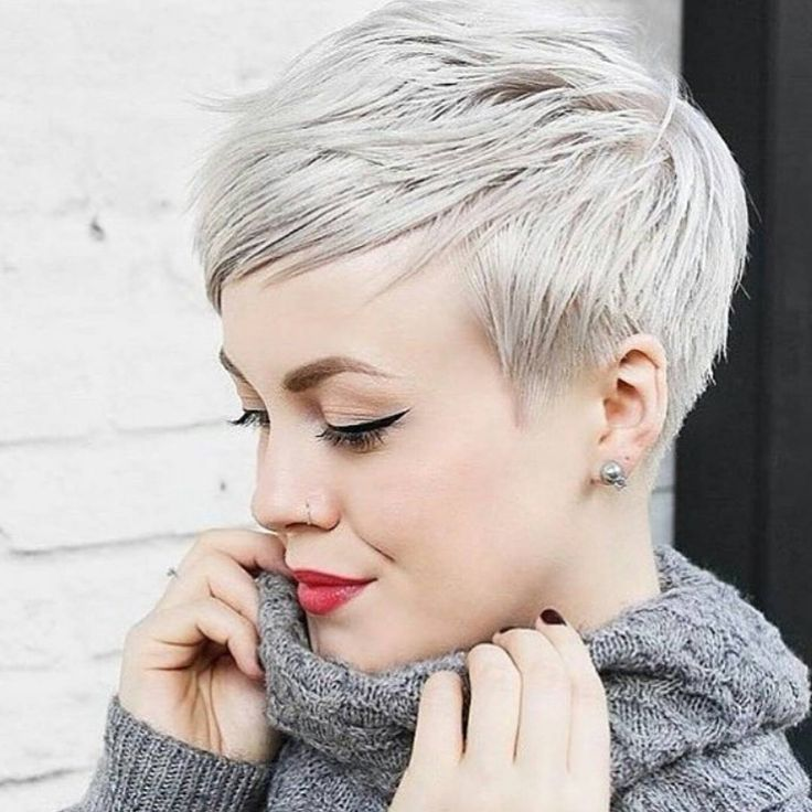 * BAM! ... Beautiful Platinum Pixie / Cut by @sarahchambray on @sarahb.h Color by @brandyhairartist #BEHINDTHECHAIR