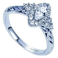 14K White Gold Marquise Halo Pre-Set 1/2CTW Ring