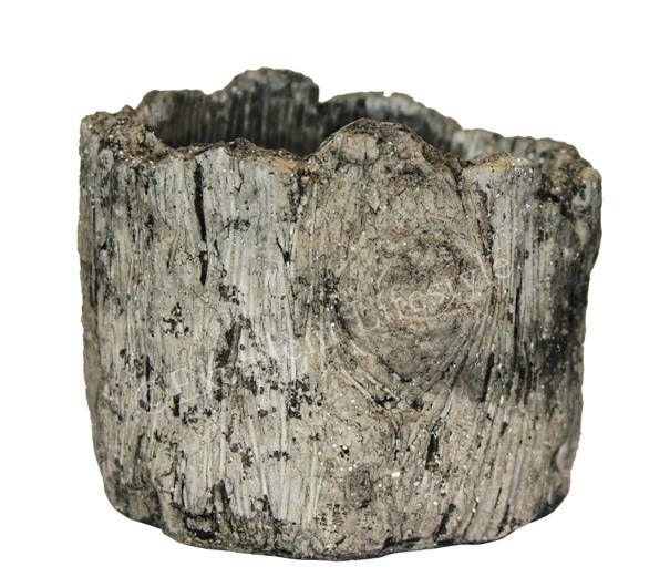 Kruka i betong med trämönster