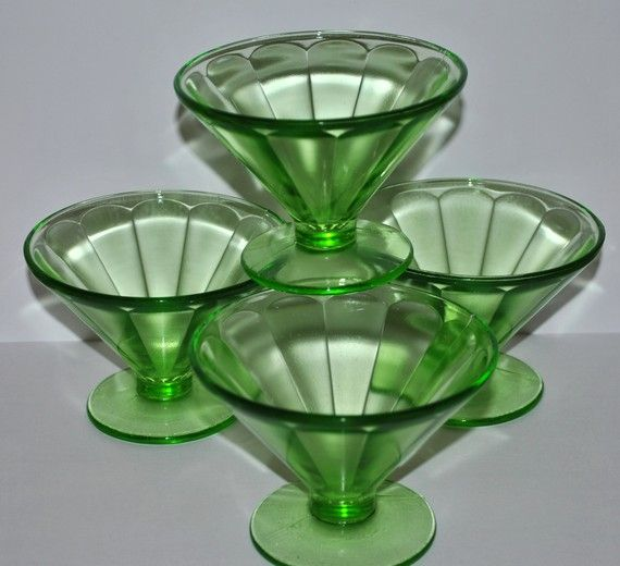 Depression glass sherbets! I have these. REMEMBER MOM SERVING CHOCOLATE PUDDING IN SHERBETS LIKE THESE :)