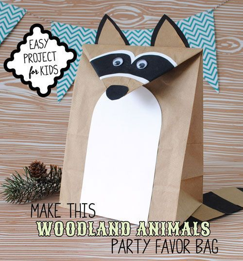 Forest Animals Party Ideas with Free DIY Raccoon Favor Bag Template – #DIY