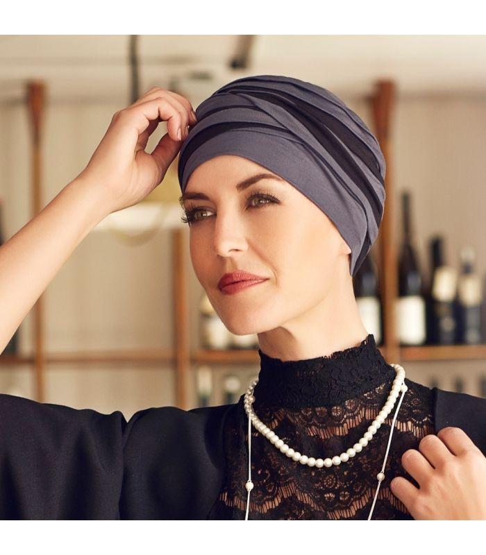 59 € - Bonnet cancer bambou - Hindi - bali pour les femmes en chimio. Accessoire chute de cheveux, alopécie, pelade.
