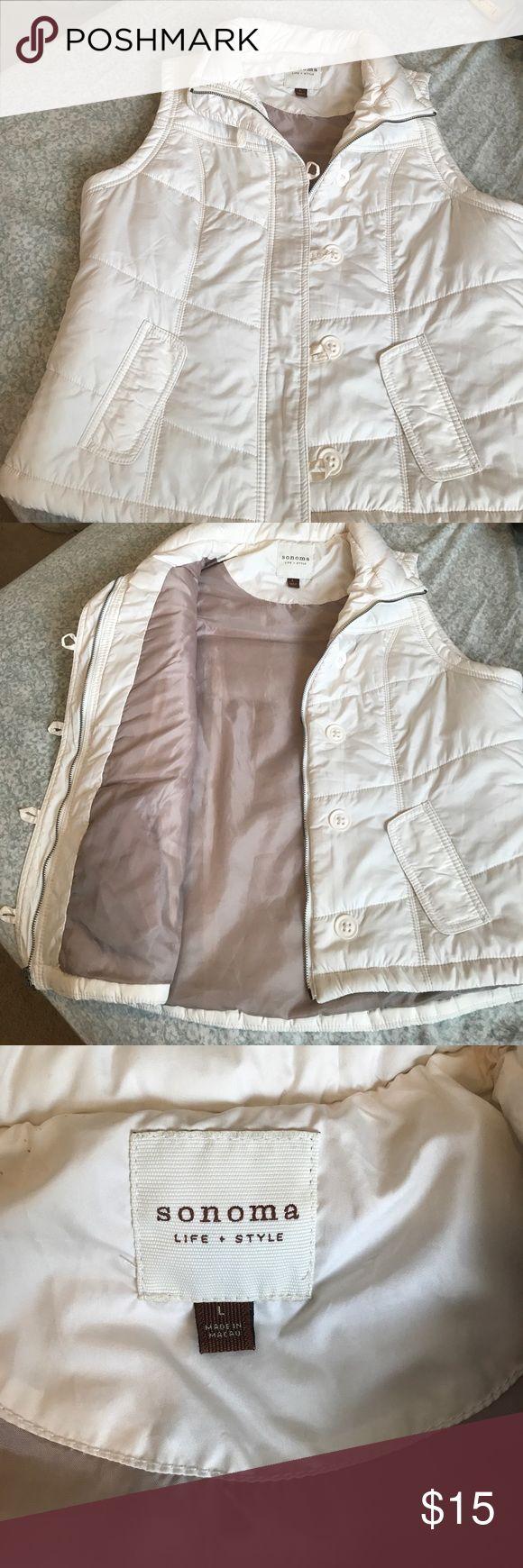 Cream vest gently used Sonoma cream vest size large Sonoma Jackets & Coats Vests