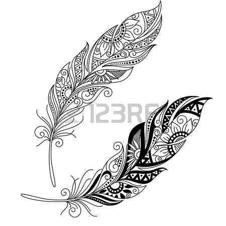 Vecteur Peerless d coratif Feather la conception Tribal Tatouage Banque d'images
