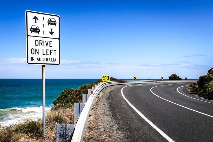 Australian road sign on the Great Ocean Road, Victoria