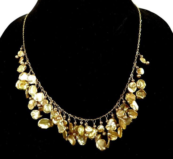 "Gold Keshi Pearl Statement Necklace, Cascade Style, Petal Keishi, 14K Handmade: ""Golden Showers"". $290.00, via Etsy."