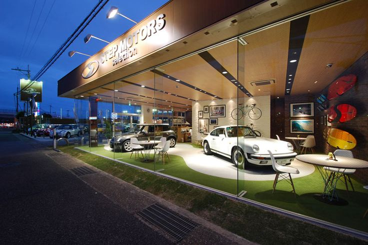 using boutique-style interiors for a used car dealership.  Cool concept!