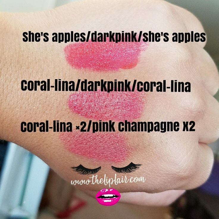 Layering lipsense. Love these combos! Adding dark pink to she's apples and coral lina give them a more coral vibe.