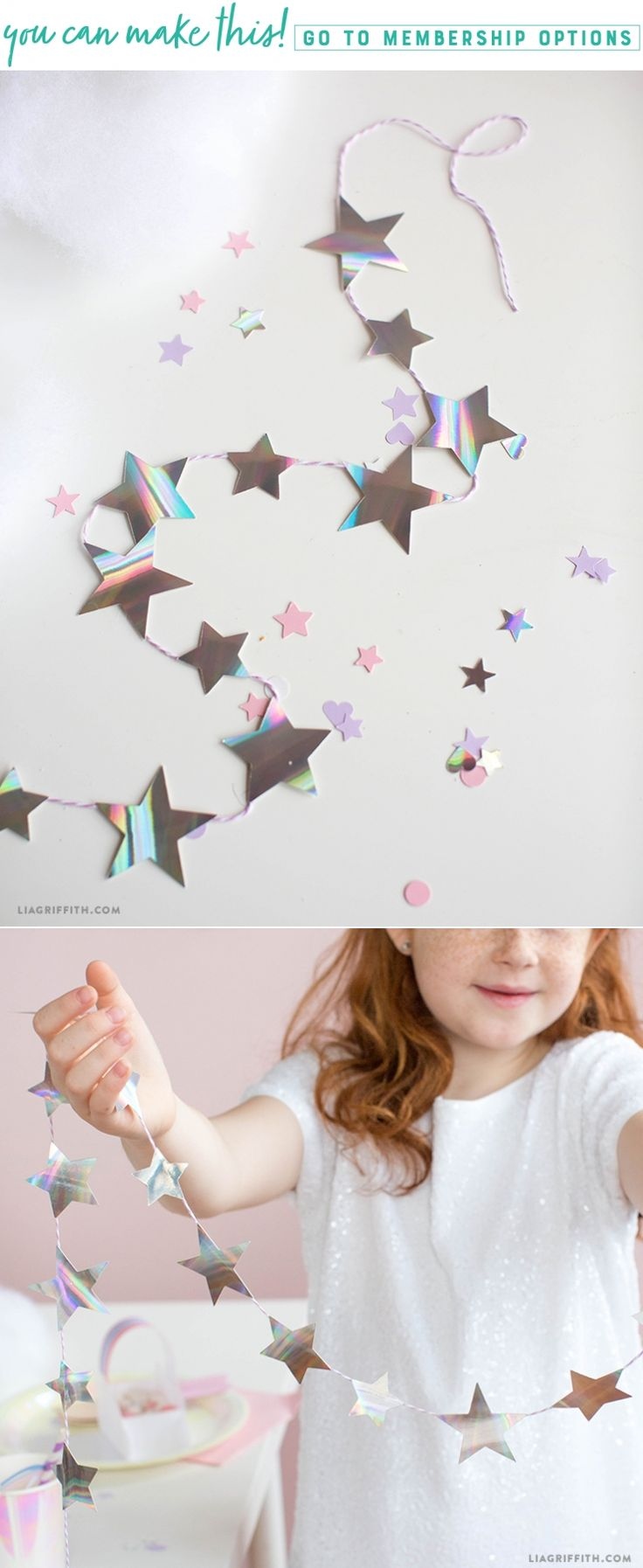 Star Light, Star Bright ⭐️✨ This star garland and confetti will have you believing in magic. We love the shine and holographic effect this paper gives. The best thing about this project is how simple it is to make. Whip up some whimsy with us. https://liagriffith.com/star-garland-and-confetti/ * * * #star #shootingstar #stars #diy #diyidea #diyideas #diycraft #diycrafts #svg #unicorn #unicorns #magic #diyproject #diyprojects #diykids #birthday #diyparty #kidsparty #kidspartydecor #confetti…