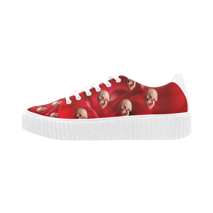 Funny Skulls and Red Rose Pisces Fabric Women Shoes (Model 1306)