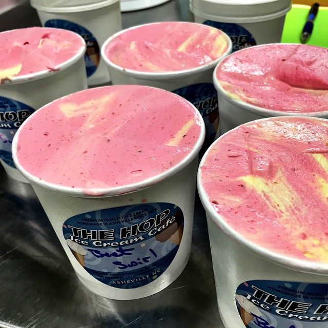 Beet Swirl Ice Cream, made with red and golden beets, fresh off the production line for Earth Fare in West Asheville.