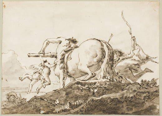 Giandomenico Tiepolo, Centauro con amorcillos, 1759-91, Acquaforte, Penna, Tratti a matita, Museo del Prado, Madrid