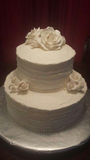 My first wedding cake April 2015; tons of fun!