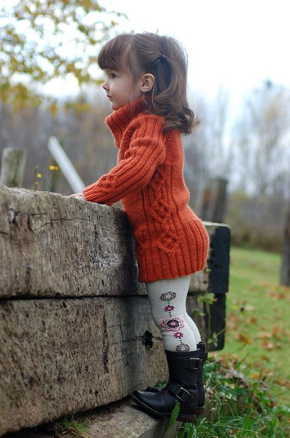 Fashionable cabled toddler sweater tunic with tights and boots.. Great for Delaney. She stays in her sizes so long.. it's great to find new ways to make different styles with the clothes she has. She has plenty of tights to use for this style!!