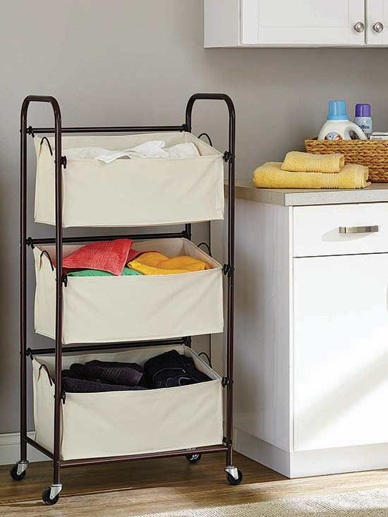 Laundry Sorters || Organize your laundry before you're even ready to wash your clothes! The three-bag vertical laundry sorter comes in very handy in the laundry room, but we also recommend it to store clean clothes in a dorm room, or to separate toys in a playroom.