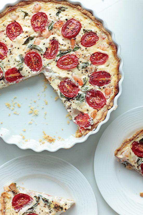 Tarta z krewetkami, pomidorkami cherry i bazylią   Kwestia Smaku