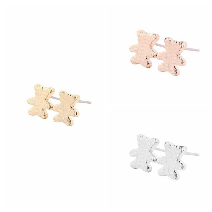2016 Fashion Cute Bear Stud Earrings for Women Little Cartoon Animal Bear Earring Girl Wedding Jewelry Gifts -S104
