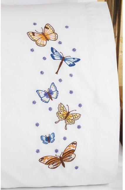 Beautiful Butterflies Pillowcase Pair - Embroidery Kit