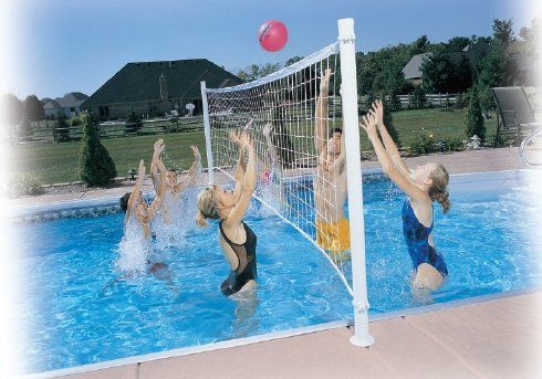 Deck mounted swimming pool volleyball net set ever - How much water in a swimming pool ...