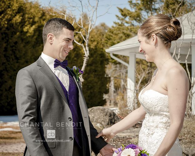 Groom's reaction to seeing bride for the first time at their winter wedding