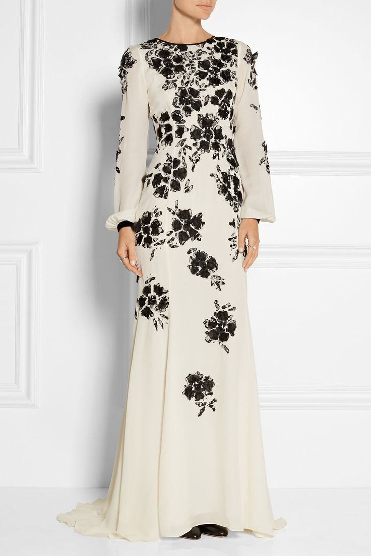 Oscar de la Renta | Floral-appliquéd silk-crepe gown | NET-A-PORTER.COM