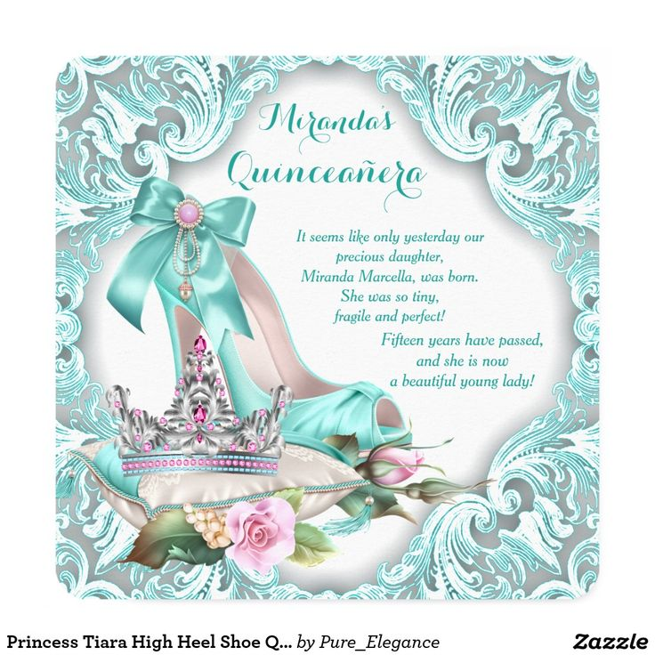 56 best princess quinceanera theme images on pinterest birthday aqua blue princess tiara high heel shoe quinceanera birthday party invitations m4hsunfo Image collections