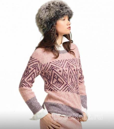 Схема спицами теплый свитер с цветным рисунком