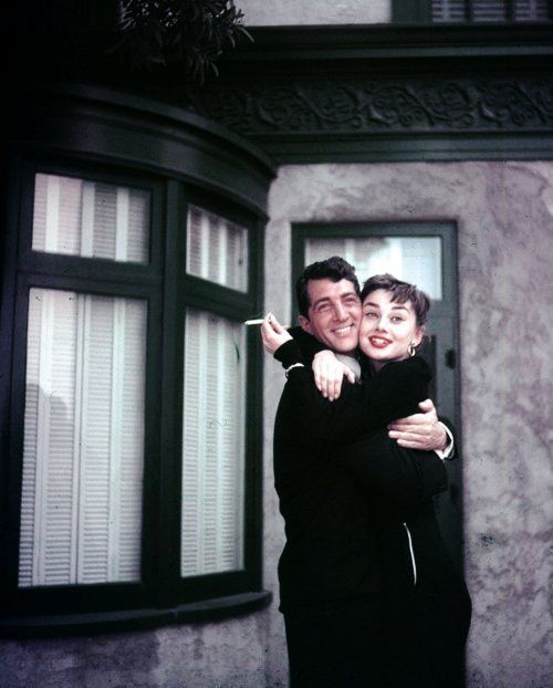 with Dean Martin on the set of Sabrina, 1953